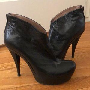 PURA LOPEZ, Black Leather Booties Heels